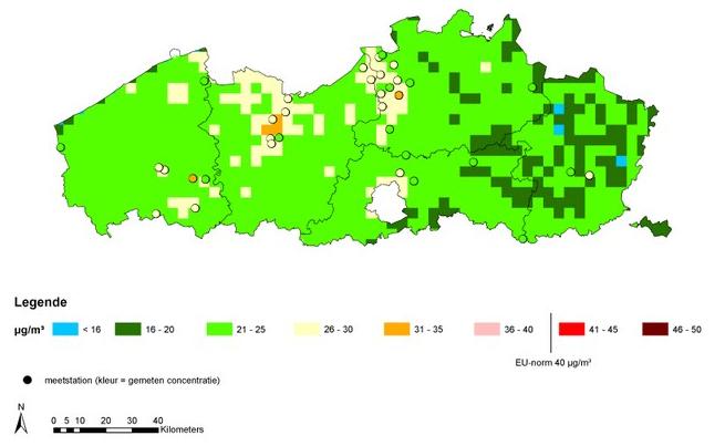 Emissiekaarten Vlaanderen Fijn stof