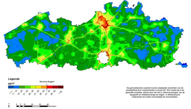 Emissiekaarten Vlaanderen Stikstofdioxide